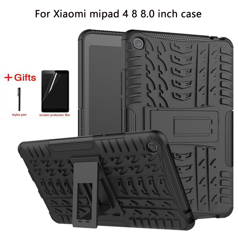 Hybrid Rugged Durable Funda Tablet Case For Xiaomi Mi Pad MiPad 4 Mipad4 8.0 inch Cover Heavy Duty 2 in 1 Stand Shell +Film+Pen