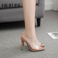 Peep Toe Transparent Pointed Stilettos High Heels Women's Slippers Fashion Roman Sandals Casual NIUFUNI Wearing Ladies Shoes цена 2017
