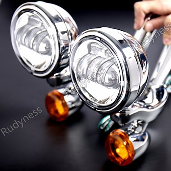 Chrome LED Auxiliary Lighting Bracket&Turn Signals For Harley Electra Glide Road King FLHR Street Glide FLHX 1996-2013