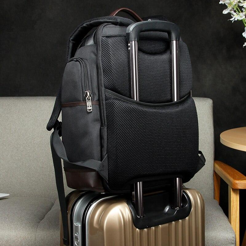 Multifuncional Popular 2018 de alta calidad de cuero genuino mochila grande para hombre bolsa de ordenador portátil mochila negra de negocios ipad bolsa de viaje - 2