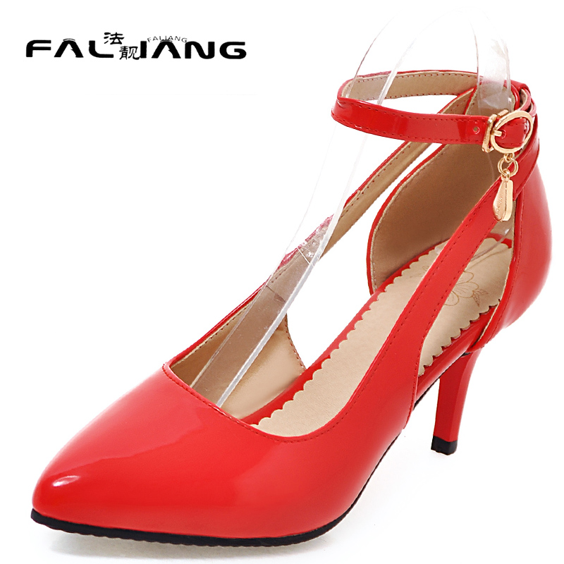 New arrival Spring Autumn plus size 11 12 Fashion Elegant Hand sewn Pointed Toe sexy womens shoes Thin Heels high Heel Shoes new 2017 spring summer women shoes pointed toe high quality brand fashion womens flats ladies plus size 41 sweet flock t179