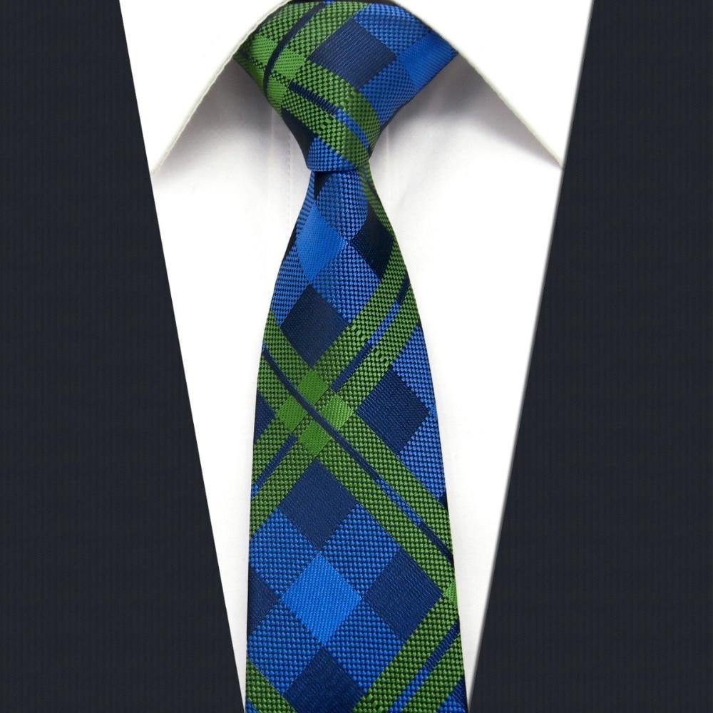UZ19 Navy Green Checked Silk Handmade Fashion Classic Brand New Dress Skinny Necktie Slim Necktie Groom