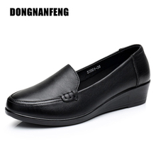 DONGNANFENG Mother Old Female Women Shoes Flats Cow Genuine Leather Loafers Round Toe Slip On PU Superstar Size 35-41 JN-58661