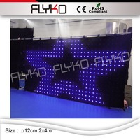 wholesale P12CM 2x4M free sample fashionable cheap disco led stage backdrop led video curtain DMX software edit curtain