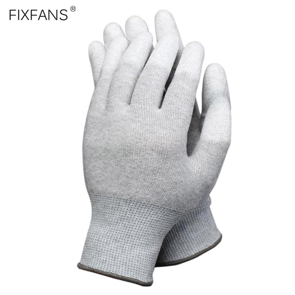 FIXFANS 1 Pair Anti Static ESD Safe Gloves Anti-skid PU Finger Coated For Computer PC Electronic Repair Work Gloves (Large Size)