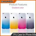 Ffor iPhone 6 6S TPU Case Ultra Slim Gradient Color Clear Soft TPU Mobile Phone Protector Mobile Phone Box Cover Shell 4.7 inch