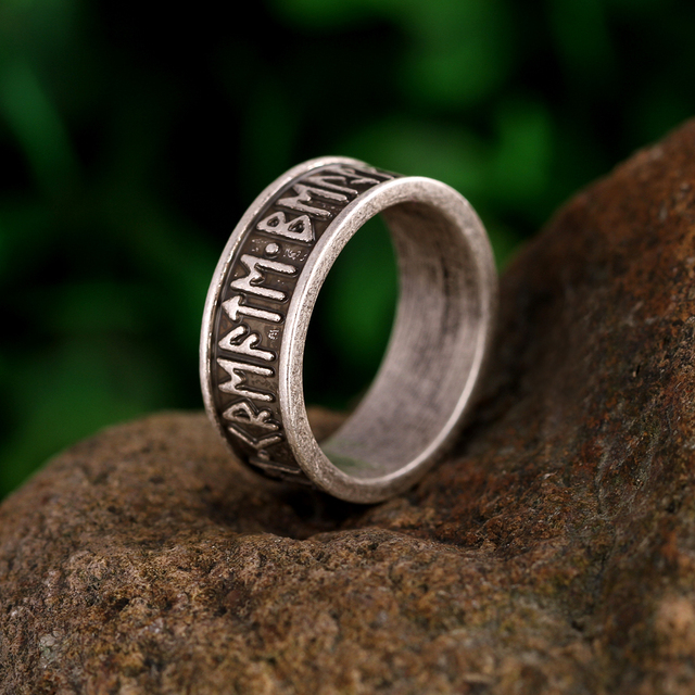 1pc Viking Mans Rings Custom Rune Letter Signet Ring Wedding Anel