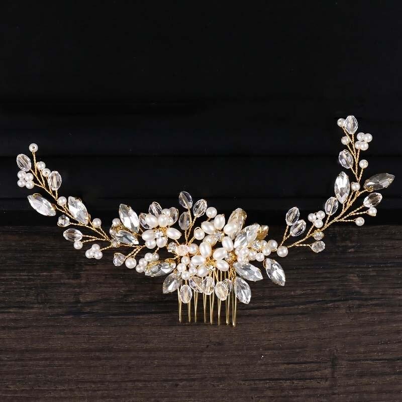 Crystal Hair Combs Tiaras Rhinestone Pearl Bridal Hair Comb Headpiece Women Hair Jewelry Wedding Hair Accessories For Bride Aliexpress