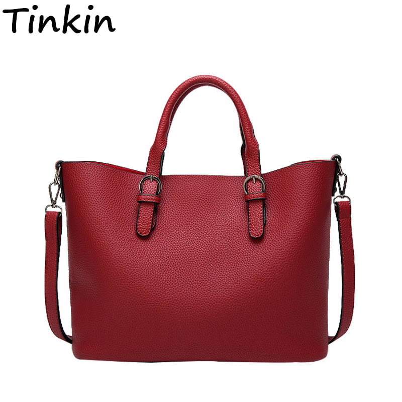 Tinkin New Arrival Casual Women Handbags Soft Fashion Shoulder Bag Women Large Tote Multi-occasion Messenger Bag