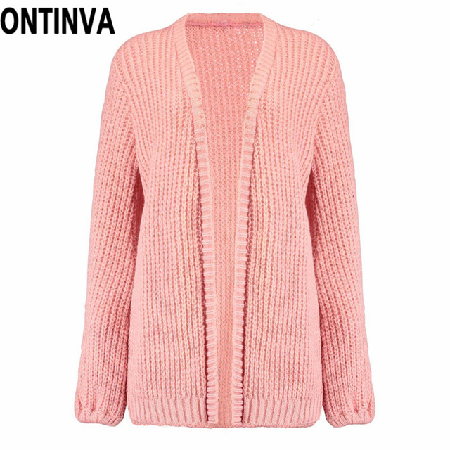 c0fefd47ed Pink Color Ribbed Lantern Sleeve Cardigans for Women Black Autumn Winter  Open Stitch Jumper Knitwear Tops Outwear Long Sleeve