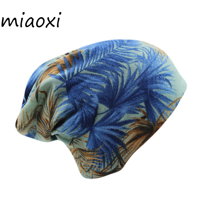 Miaoxi New Cheap 2 Used Women Cap Fashion Girls Autumn Winter Warm Beanies Knit Floral Leaf Hats For Lady Bonnet Scarf Brand Hat