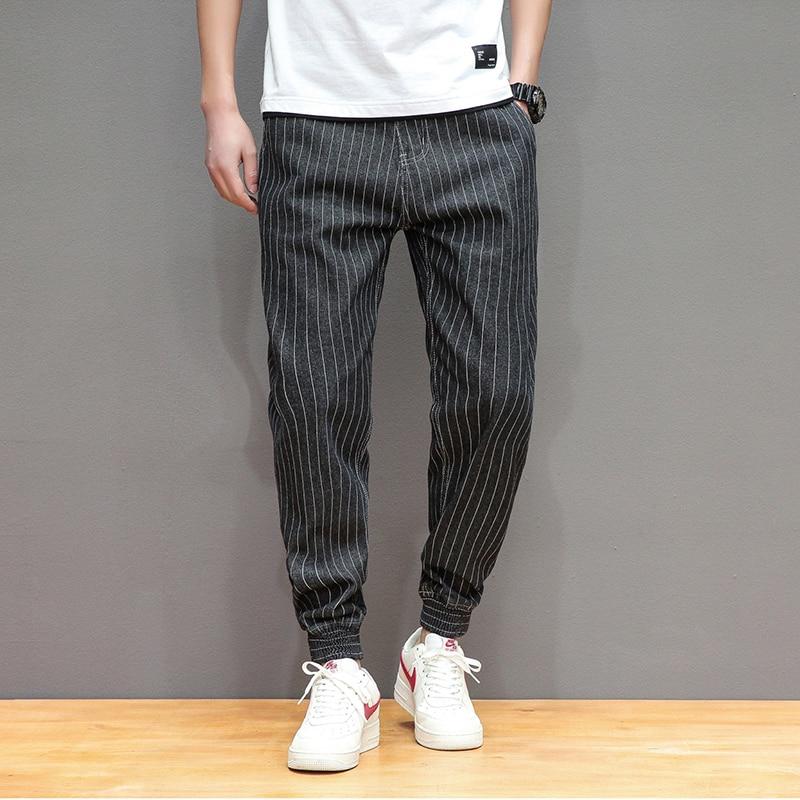 Male Harem Pants Blue Black Striped Denim Trousers for men Trend Loose Hip-Hop   Jeans   Mens Joggers Sweatpants Size 28-42