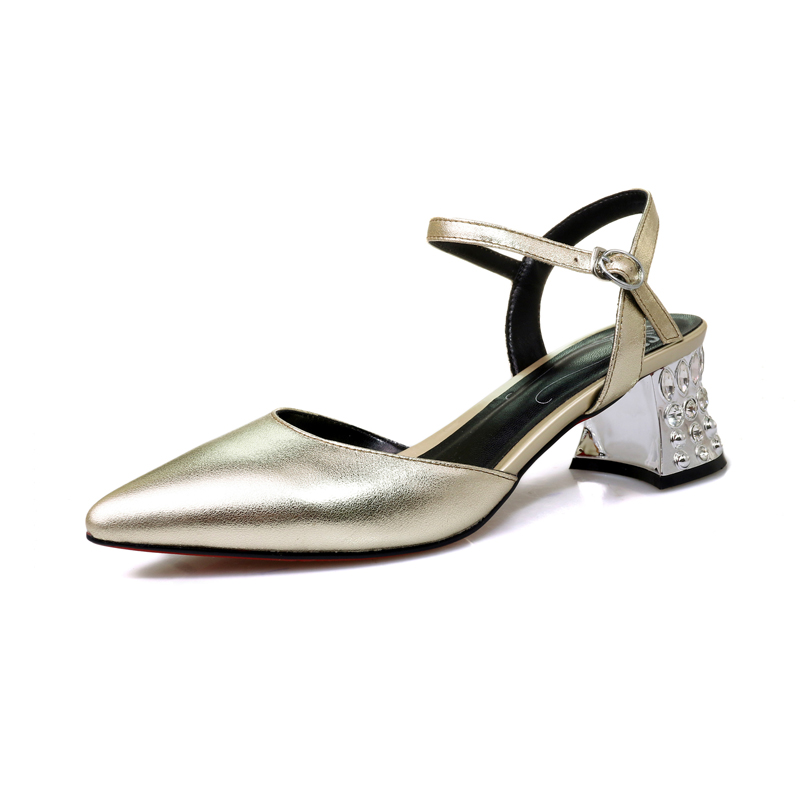 ФОТО Spring/Autumn Women Shoes Pumps Genuine Leather Mary Janes Med Heels Pointed Toe Casual Fashion Buckle Strap Shallow Crystal