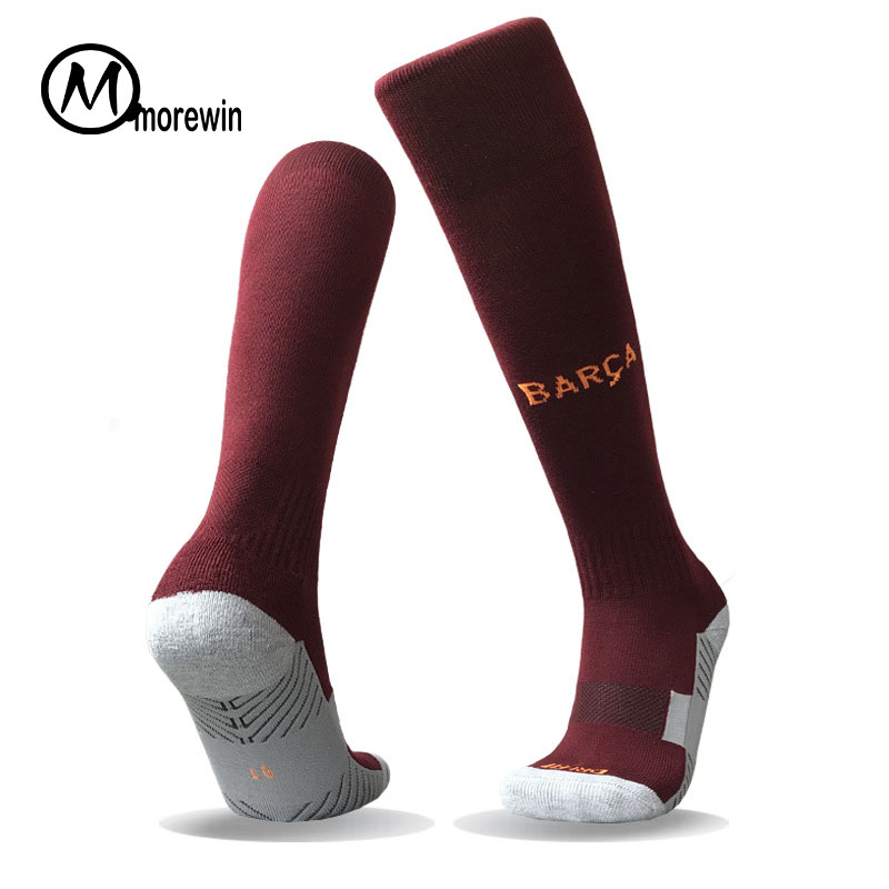 Morewin Quality Thick Bottom Anti-slip Soccer Socks Men Women Cotton Absorb Sweat Long Football Socks Sports Knee Tube Sox