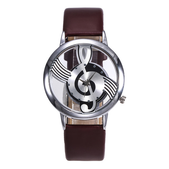 New Luxury Women Fashion Leather Stainless Steel Musical symbol watches Quartz Watch Casual Dress Female wrist watch clock 40Q