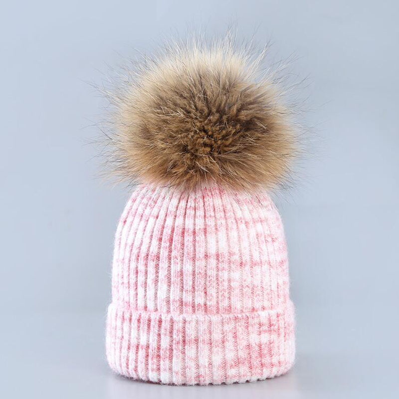2017 mink and fox fur ball cap pom poms winter hat for women girl 's hat knitted beanies cap brand new thick female cap new star spring cotton baby hat for 6 months 2 years with fluffy raccoon fox fur pom poms touca kids caps for boys and girls