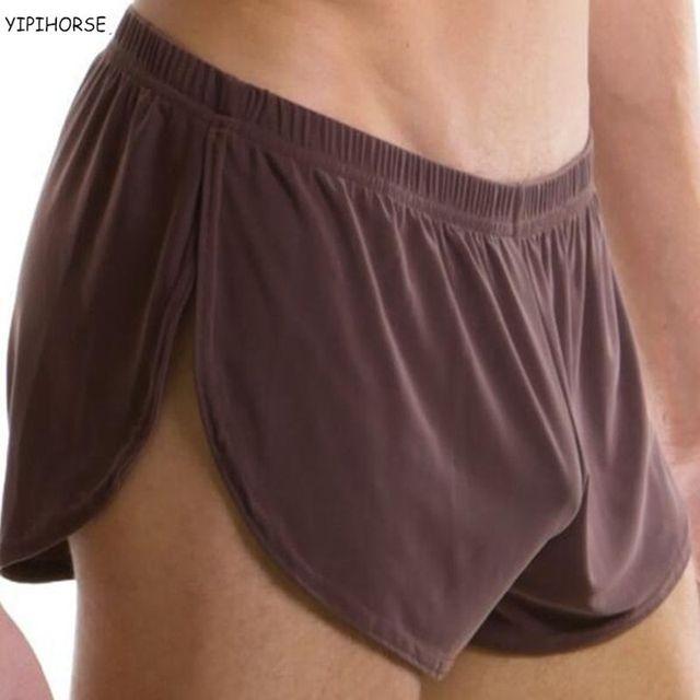 המחיר הטוב ביותר גברים נוח בגדים סקסי גבר בוקסר מכנסיים U קמור פאוץ משי סקסי גוף XXL גודל underpant מפעל מכירה