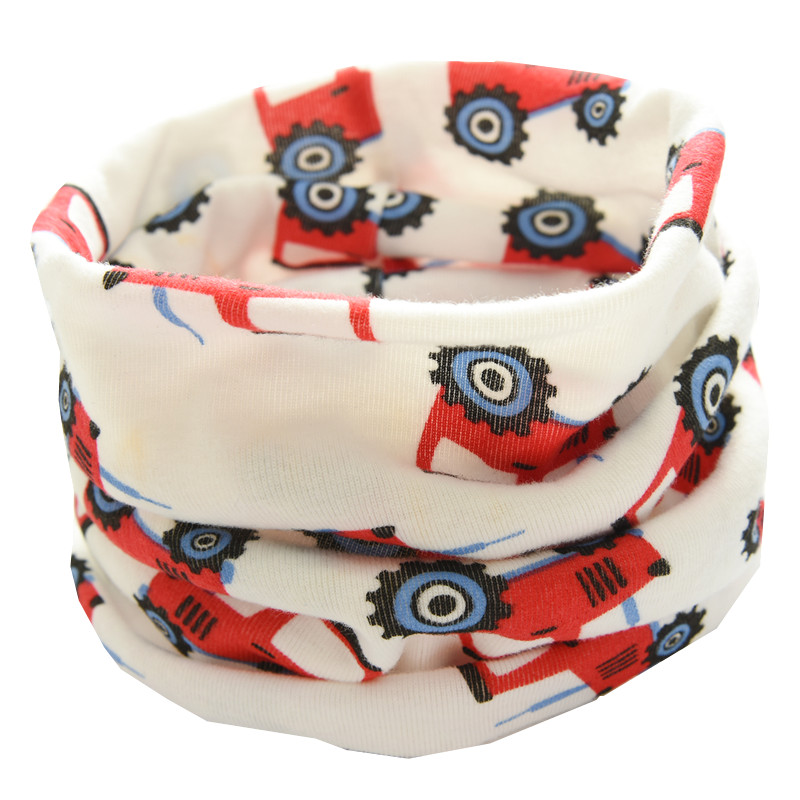 Осенне-зимний детский хлопковый плюшевый шарф, детский шарф для девочек, шарфы для мальчиков и девочек, детский воротник, детский волшебный шейный платок с круглым вырезом - Цвет: white truck