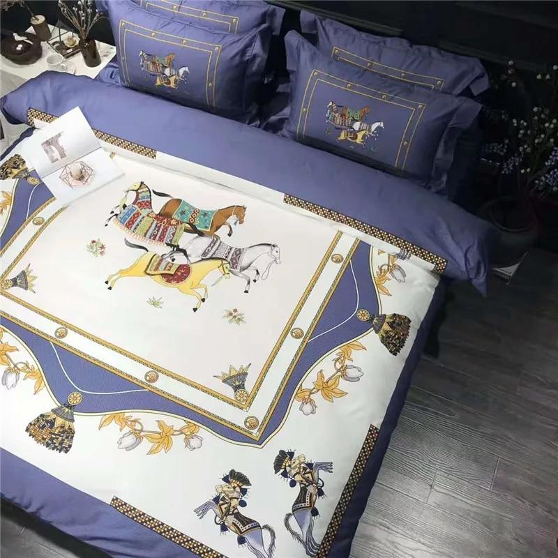 럭셔리 이집트 면화 유럽 하이 엔드 킹 퀸 사이즈 퀼트 웨딩 침구 세트 이불 커버 침대 시트 세트 베개 케이스 4pcs # s-에서침구 세트부터 홈 & 가든 의  그룹 2