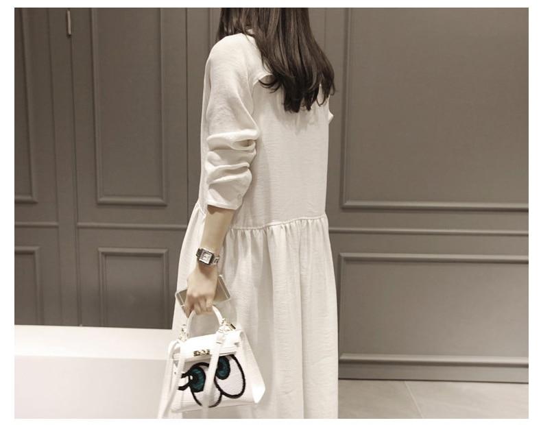 Frauen Neue Herbstkleider Baumwolle Leinen Langarm Vintage Kleid - Damenbekleidung - Foto 2