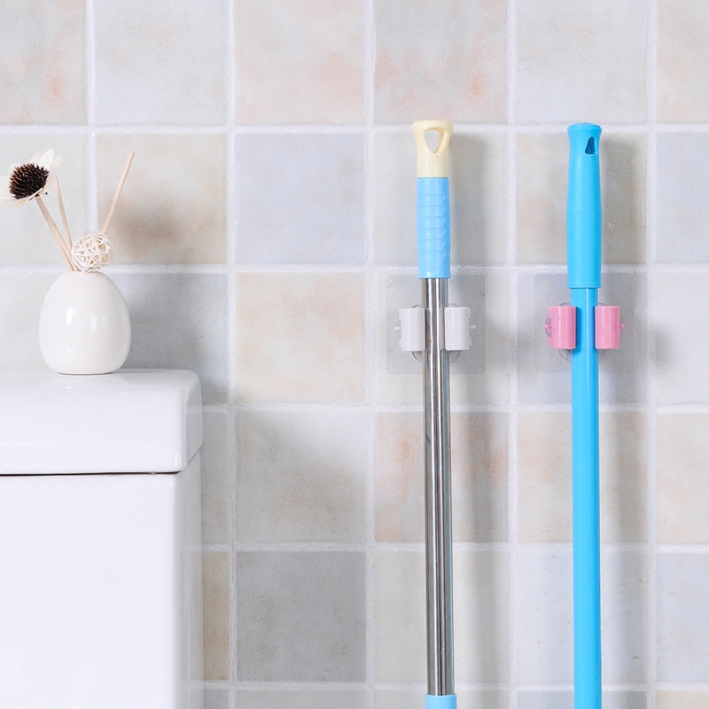 POP Traceless Sucker Hook Mop Holder Wall Mounted Suction Cup Storage Broom Rack