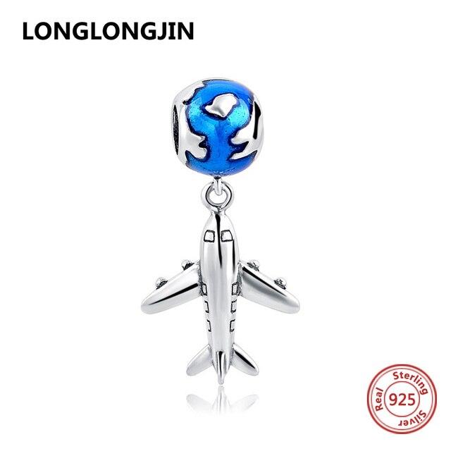 925 Sterling Silver Beads Blu Globo Airplane Charms Adatto Pandora Collana Del Braccialetto Autentico DIY Belle Perline Gioielli Per I Regali