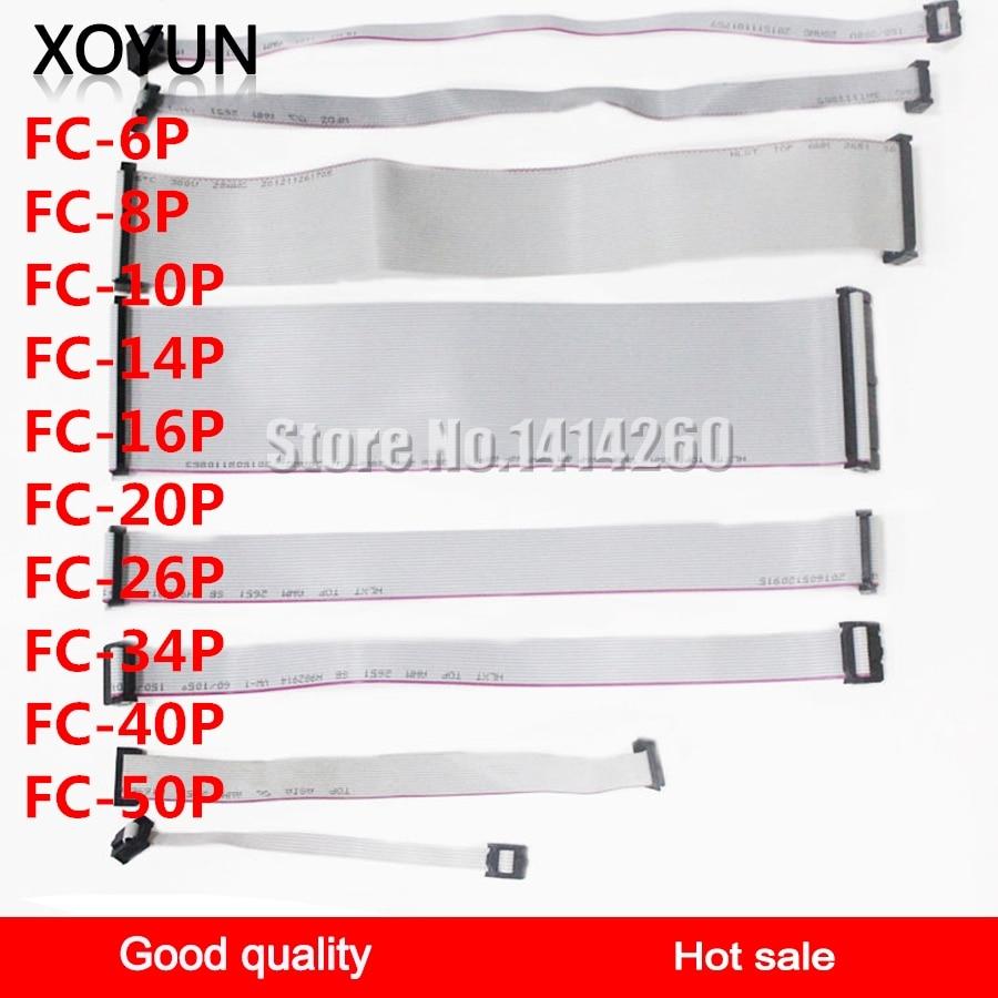 Grey Ribbon Cable FC-6P FC-8P FC-10P FC-14P FC-16P FC-20P FC-26P FC-34P FC-40P FC-50P JTAG Cable 30CM Spacing 2.54