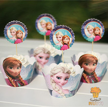 24pcs Kids Princess Anna Elsa birthday Party Decoration baby shower Cupcake Wrappers Favors Cup Cake Toppers Picks AW-0003