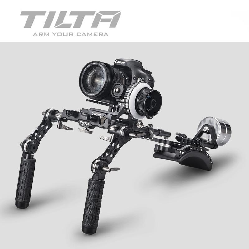 TILTA TT-03-TL 15mm DSLR Offset Shoulder Rig Front Handgrip With Hard Stop Follow Focus & Counterweight For Canon DSLR HDV