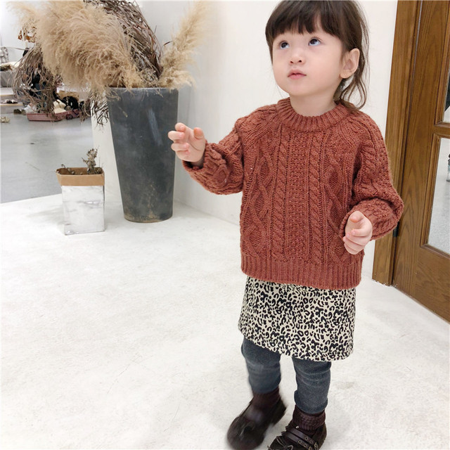 41112633f5416 US $22.64  new Winter Kids Twist Retro Sweater Pure Color Korean style  Unisex Children Clothes Baby Boys Girls Knitted Pullovers Sweaters-in  Sweaters ...