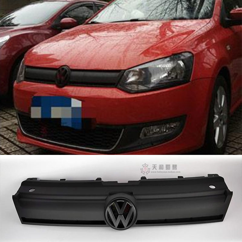 ФОТО Polo BlueMotion Style Matt Black ABS Car Exterior Parts Racing Grills For Volkswagen VW Polo Cross GTI Standard 2011-2013