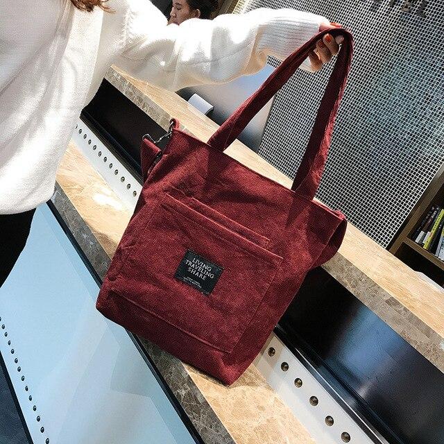 Women Corduroy Zipper Shoulder Bag Cotton Canvas Handbag  3