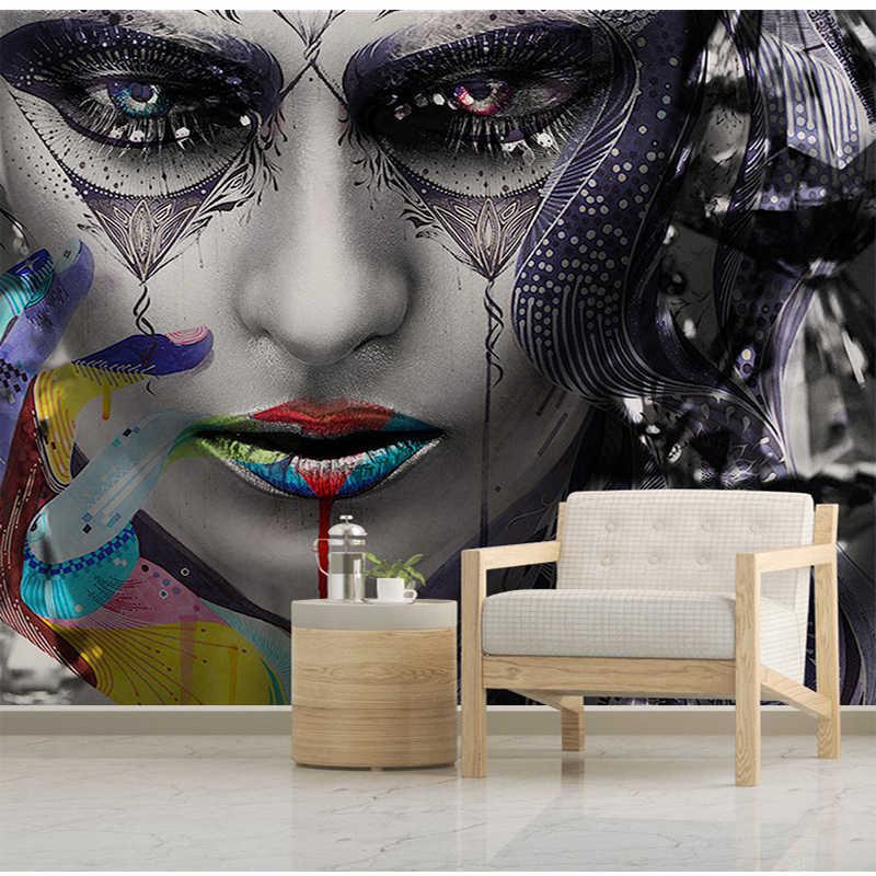 العرف ثلاثية الأبعاد متعددة الألوان امرأة جميلة شخصية قماش صوفي خلفية لغرفة المعيشة حائط الخلفية ديكور Papel دي Parede ثلاثية الأبعاد