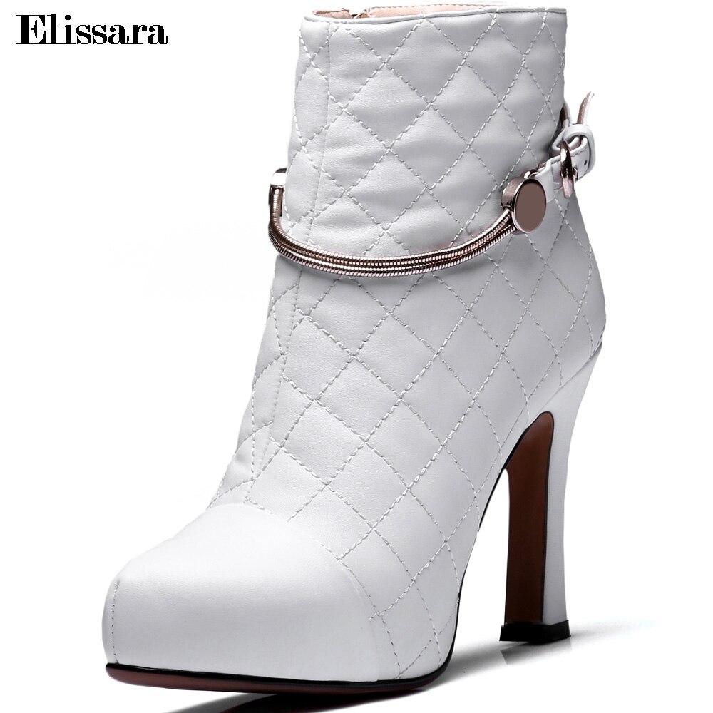 Talón Invierno Plataforma Redonda Moda Negro Zip Zapatos Tobillo Mujer Del Mujeres blanco Elissara Punta Cuero Negro Botas Alto Auténtico q1nYtS