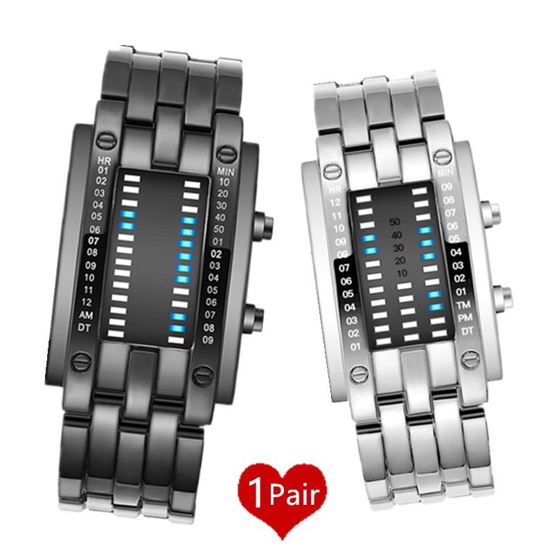 1 Paar Paar Uhren Kreative Led Digital Armband Uhr Männer Frauen Elektronische Armbanduhr Wasserdicht Liebhaber Uhr Schwarz Silber 45
