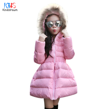 Kindstraum 2017 New Children Warm Down Jacket Top Quality Kids Solid Long Feather Coats Thermal Hooded Parkas for Girls,RC795
