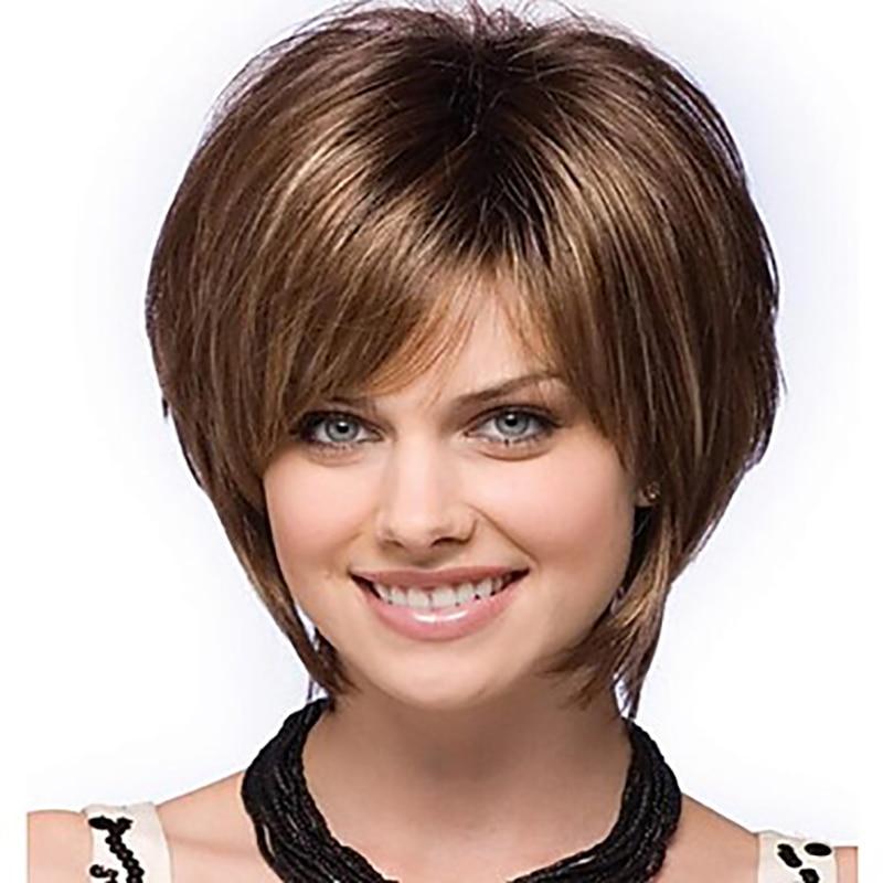 HAIRJOY-Peluca de pelo sintético para mujer, pelo liso con flequillo, corte Pixie, 14 pulgadas, marrón, mezclado, corto, Natural