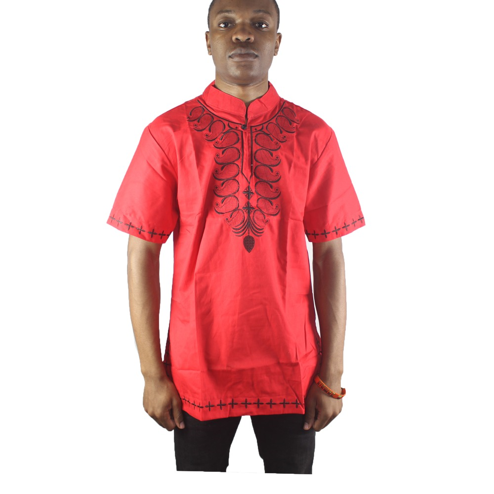 Africa Red Abstract Embroidery Men`s Ethnic Tops Side Slit Dashiki Shirts for Wedding Wearing