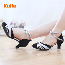 Adult Latin Dancing Shoes For Women Ballroom Tango Salsa Modern Dance Shoes Scarpe Donna Latino Black High Heels Shoes