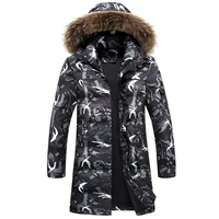 2019 Brand Men's Clothing Camouflage Winter Jackets With Hoodies Outwear Male Above Knee Winter Coat Men Casual Warm Down Jacket
