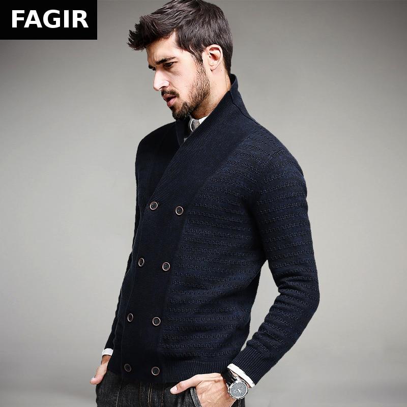 2016 Autumn font b Mens b font Fashion Sweaters 100 Cotton Blue Double Button font b