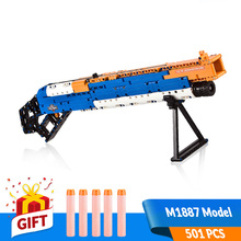 501pcs DIY Assembled Building Gun Block Toys Outdoor Simulated Shooter M1887 Model with Foam bullets Kit Gift for Boy Teenage
