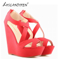 LOSLANDIFEN New Women's Wedges Dress Pumps Suede Platform High Heels Shoes Woman Sexy Peep Toe Wedding Summer Pumps 391-10Suede