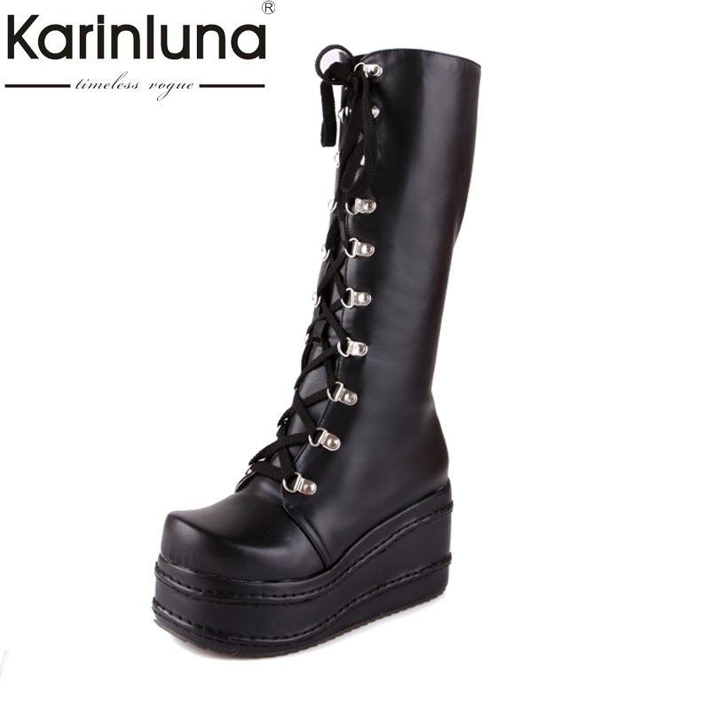 KarinLuna large sizes 34-43 fashion punk cosplay boots woman shoes platform winter party wedge high heels knee-high boots