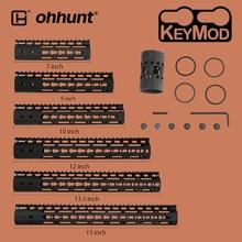 "ohhunt Hunting Tactical AR-15 Rail NSR 7"" 9"" 10"" 12"" 13.5"" 15"" Rail KeyMod Handguard Picatinny Rail with Steel Barrel Nut"