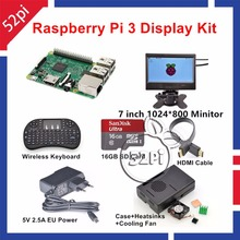 Raspberry Pi 3 Kit with 7 inch 1024*600 LCD Monitor 16GB SD HDMI Case 5V 2.5A EU/US/UK/AU Power Cooling Fan Wireless Keyboard