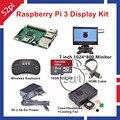 Raspberry Pi 3 Комплект с 7 дюймов 1024*600 ЖК-Монитор 16 ГБ SD HDMI Случай 5 В 2.5A ЕС/США/ВЕЛИКОБРИТАНИЯ/AU Питания Вентилятора Охлаждения Беспроводная Клавиатура