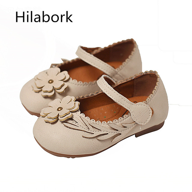 Leather princess shoes girls 2017 Spring and Autumn children's shoes soft dough shoes cute little flowers baby soft bottom shoes
