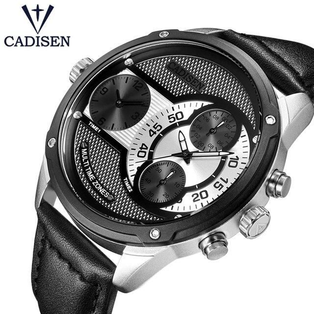 CADISEN Top marque double fuseau horaire décontracté pilote militaire Sport montre-bracelet hommes de luxe mode genève montre à Quartz Relogio Masculino