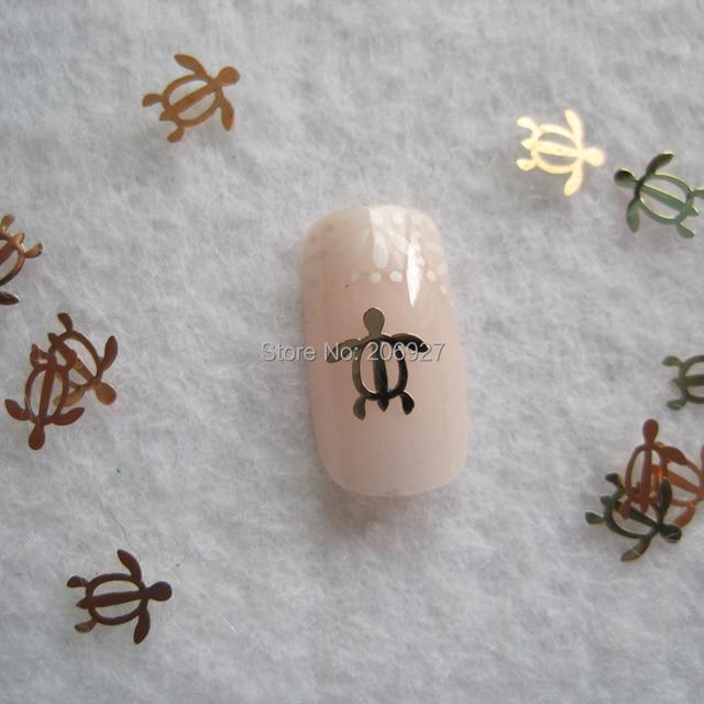 MS283 2 100pcs Gold Cute Turtle Metal Sticker Nail Art Metal Sticker ...
